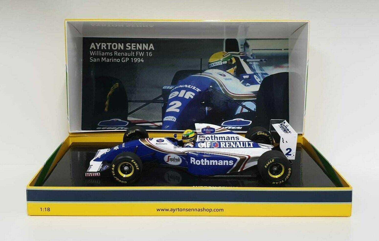 MINICHAMPS 1/18 AYRTON SENNA MODELLINO AUTO F1 WILLIAMS RENAULT FW16 IMOLA 1994