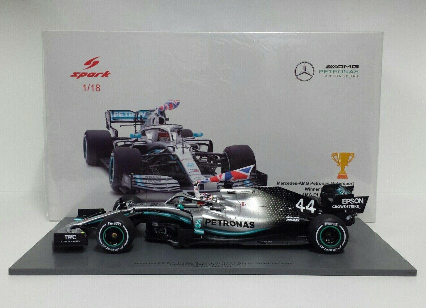 SPARK 1/18 MODELLINO AUTO F1 MERCEDES AMG HAMILTON WINNER INGHILTERRA 2019 NUOVO